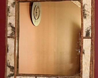 Birch Bark Mirror in Adirondack Style