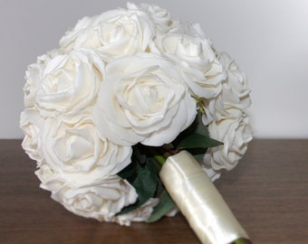 Romantic Hand Made Rose Bridal Bouquet Pale Pink or Off White
