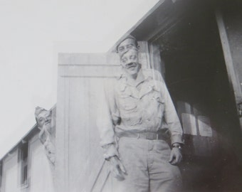 1940's World War II Era US Army Soldier Double Exposed Snapshot Photo - Free Shipping