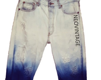 Ombre Blue Men's Levi's Bleached Denim Distressed Ripped Cut Off Jean Shorts