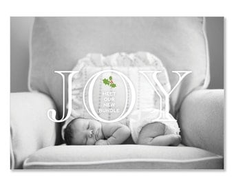 Photo Holiday Card Birth Announcement Joy Meet Our New Bundle | Baby's First Christmas Baby Announcement | 5x7 Holiday Newborn Announcement
