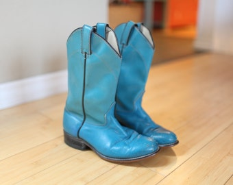 vintage turquoise blue leather cowboy boots womens 6