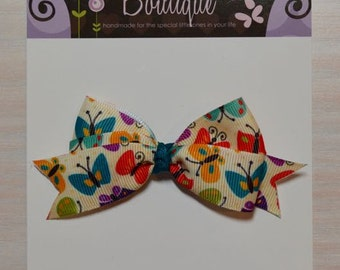 Boutique Style Hair Bow - Ivory w/ Butterflies