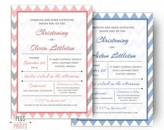 Printable Baptism Invitation Girl - Baptism Invitation Boy Printable - Girl Christening Invitations - Boy Christening Invitation - Chevron