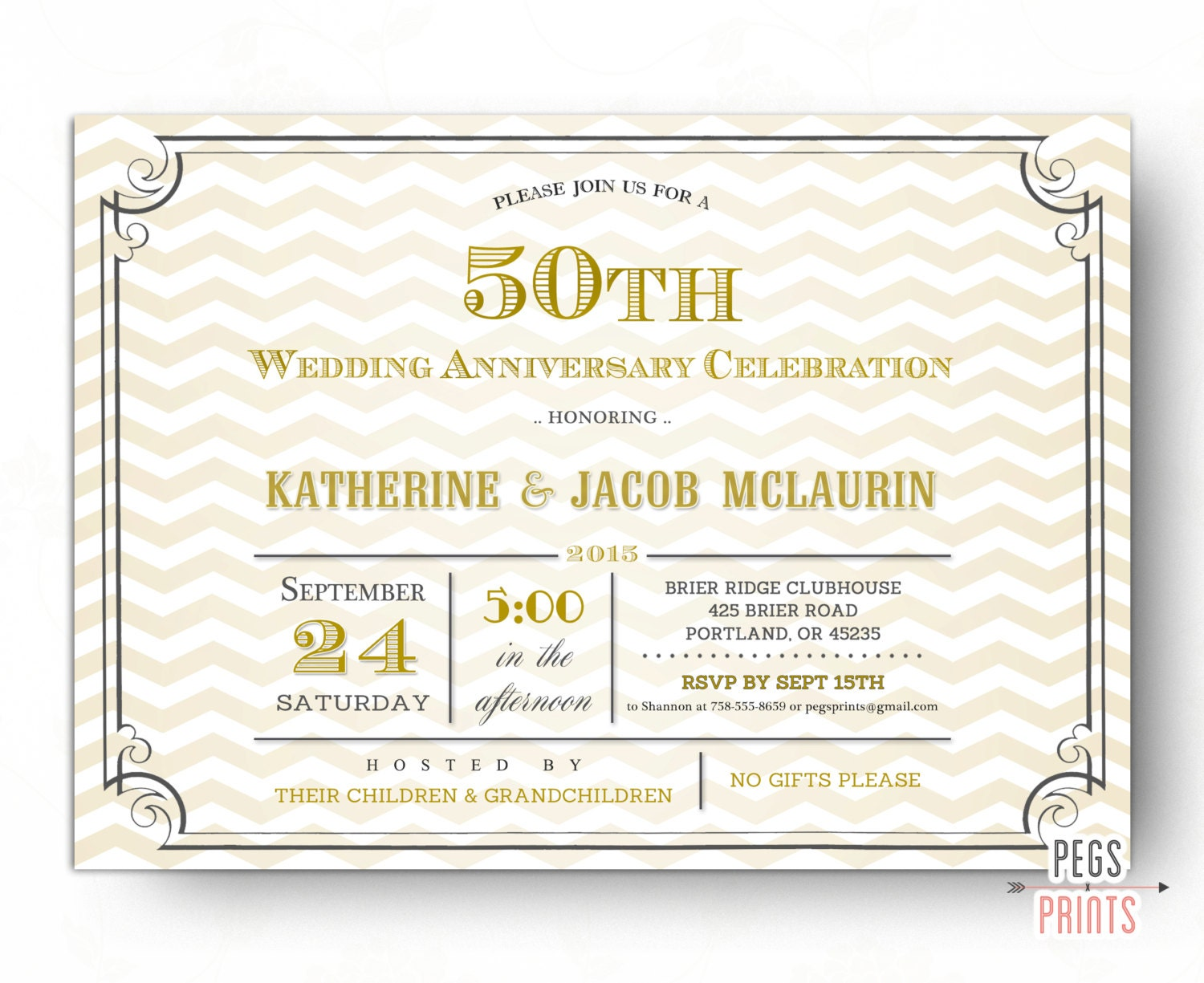 Fiftieth Wedding Anniversary Invitations: Golden Anniversary Invitation Printable // 50th Anniversary