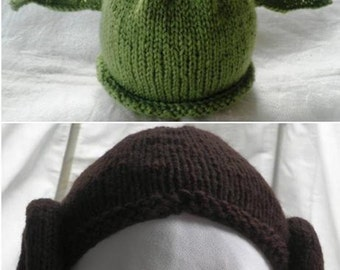 Hand knitted Yoda and Leia baby hats for Star Wars fans