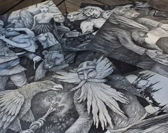 Finnish epic Kalevala illustration set by Estonian Artist Jüri Arrak - Estonian Art - Printed Art - Charcoal drawing - Art Poster