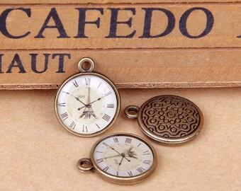 10 pcs of antique bronze carving decorative pattern clock charm pendants 20x11mm