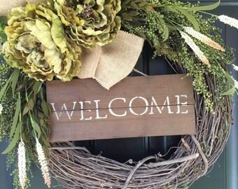 Peony Welcome Wreath - Country Wreath - Spring Wreath - All Year Long Wreath - Housewarming Gift - Wreath - Gift Ideas