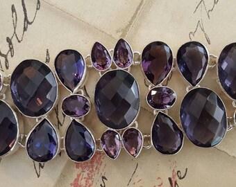 Sterling Silver Bracelet - AMETHYST Quartz, HUGE Size, 7-9 inCHES, Jewelry, Metaphysical, February, Handmade, Birthstone, Aquarius, NEW!!