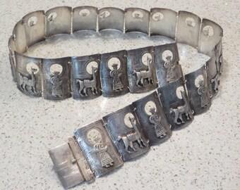 Vintage nicely detailed 900 Peruvian sterling silver llama shamen shepard panel belt 6 ounces
