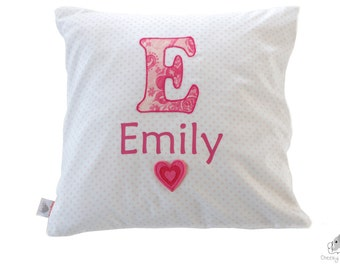 Monogram letter name pillow, applique letter cushion, personalised pillow, initial name pillow, monogrammed pillow, applique name cushion