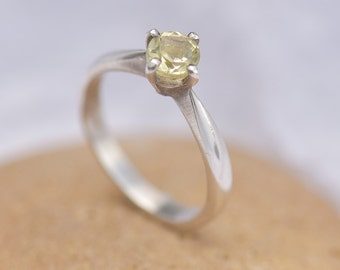 Citrine Ring, Silver Ring with Citrine, Solitaire Citrine Ring, Ring Size N, Yellow Ring,  November Birthstone Ring
