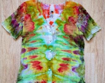Icedye buttonup blouse