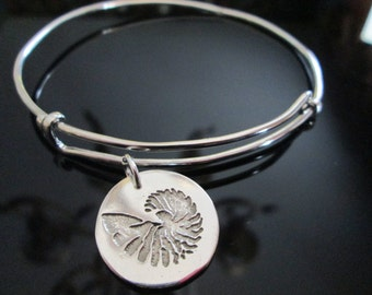 Adjustable  Sterling Bangle Bracelet with Striped Nautilus Shell Charm