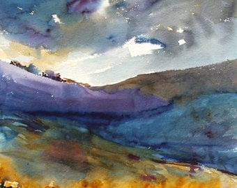 Large Watercolor Landscape, Original Painting, Contemporary Art, Field and Sky, Wall Art