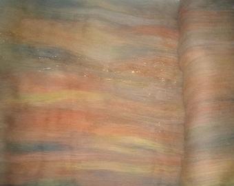 Sandstone -  Art Batts - Spinning Felting Fiber Wool Sparkle - brown orange yellow teal sage green blue copper rust