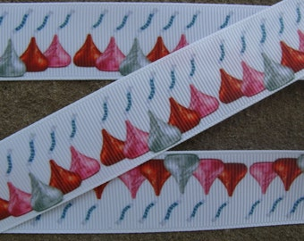 "3 yards Kisses Grosgrain Ribbon 1"" Grosgrain Ribbon Printed Ribbon Kisses Candy Print Grosgrain Ribbon By The Yard"