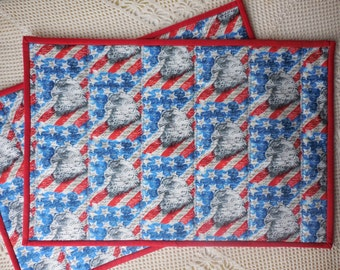 Patriotic Placemats - set of 2 - quilted, reversible - eagle table accessory, place mat, 100% cotton fabric, red white blue, patriotic theme