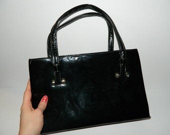 1960s Black Patent Leather Handbag