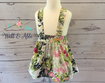 Navy, burgundy, floral suspender skirt
