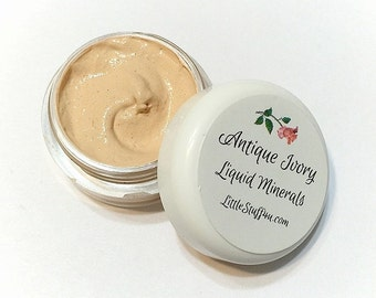 ANTIQUE IVORY Creamy Liquid Mineral Foundation Vegan Makeup Samples and Full Size