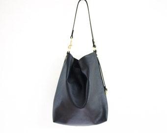 Black Leather Hobo Bag with Key Fob