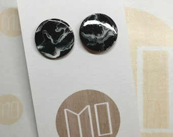 Extra Large (20mm) Handpainted Wooden Studs in Marble Surgical Stainless Steel