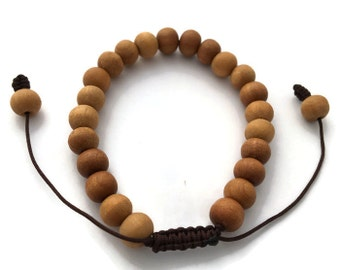 Tibetan Sandalwood Bead Adjustable Wrist Mala Bracelet