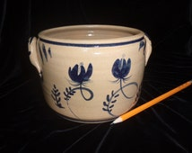 Handmade Pottery Crock - Tan stoneware with Traditional Early American Cobalt Blue  decoration