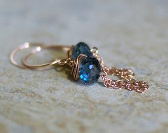 London Blue topaz earrings, Blue topaz gift, December birthstone gift, London Blue topaz jewelry, 14k rose gold fill ear wires, her gift