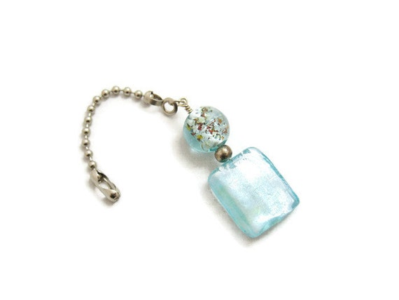 Decorative Pull Chain Extension Handmade Pale Blue Glass
