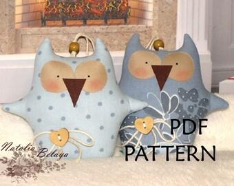 "PDF Pattern. Owls  Pattern. Owl Pattern. 6,5"" Owls. Pattern ONLY. Cute Owls Pattern. Soft toy Pattern. Cloth toy Pattern.  Bird toy Pattern."
