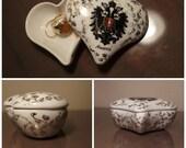 CLOSURE SALE 50% Vintage White Porcelain Ring Box Heart Austria Souvenir Scutcheon Gold Flowers Luster Heart Jewelry Box Austian Eagle Alpes