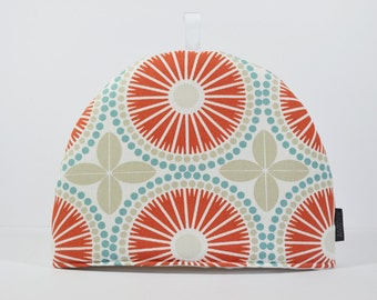Vintage retro Tile print Scandinavian Swedish fabric Tea Cosy  - Coral