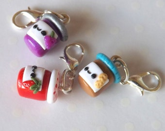 Peanut Butter and Jelly Charms - Best Friend Charms - Stitch Markers - Planner Charms - BFF Gift - Progress Keepers - Kawaii Clay Charms