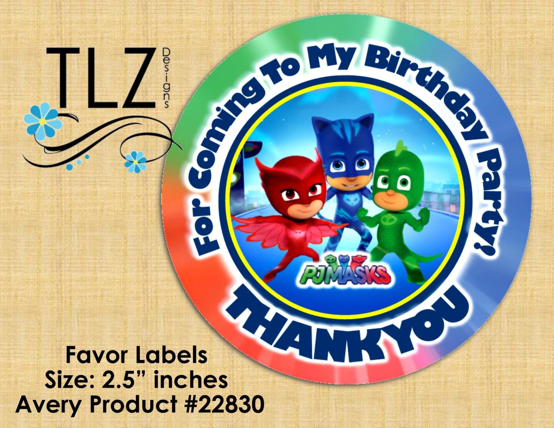 PJ Masks Favor Labels Printable Digital Instant by TLZDesigns