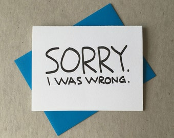 "Letterpress ""Sorry. I was wrong."" card (#MIS024)"