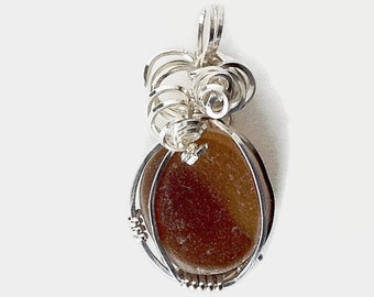 Amber Sea Glass Wire Wrapped with Sterling Silver, Handcrafted Beach Glass Necklace, Gift for Her