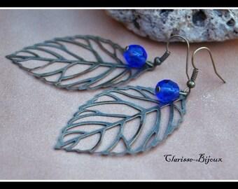 Filigree Leaf Earrings, Antique Bronze Earrings, Glass Earrings