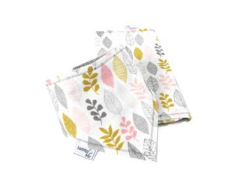 Organic Bib & Burp Cloth Set, Bib Burp Cloth, Organic baby set, Pink Leaf