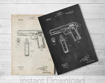 Colt 1911 Semi-Automatic Pistol Patent Poster, Colt 45 Pistol, USAF, Gun Enthusiast, PP0076