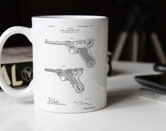 Luger Pistol Patent Mug, Pistol, Firearm, Police Gift, Gun Enthusiast, Gun Mug, PP0947