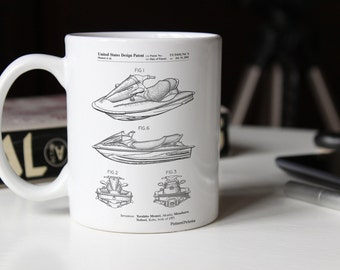 Kawasaki Water Scooter Patent Mug, Jet Ski, Vacation, Summer Decor, Lake House Mug, Sports Mug, PP0903