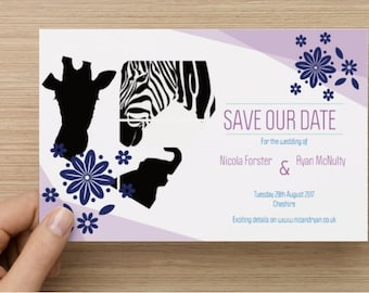 Black and Purple Zoo Themed Save the Date, Zoo Wedding Save the Date, Safari Save the Date