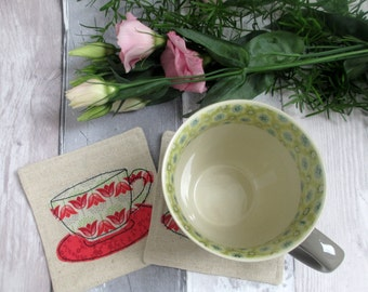 Fabric Tea Cup Drinks Coasters - Fabric Coasters Set of 2 - New Home gift - Appliquéd Coasters - Tea Cups Embroidery