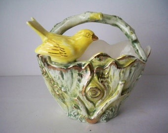 1950s Vintgage Small Novelty Vase With Yellow Bird Sitting on a opening in a Tree Trunk with Branch Handle Made in Japan