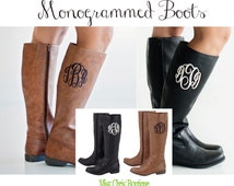 Sale! Boots, Monogram Boots, Women's Boots, Riding Boots, womens shoes, monogrammed boots, Monogram Rain Boots