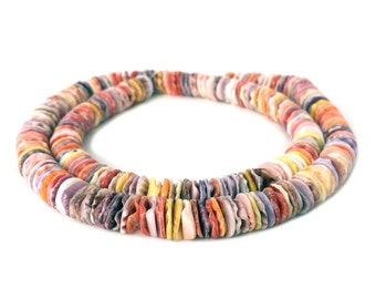 Multicolored Pectin Shell Heishi Beads (7 - 8 mm , 16 Inches Strand)