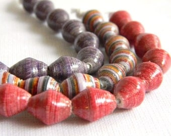 Paper Bead Jewelry Supplies - Paper Beads - Hand painted - Lot of 30 - #206